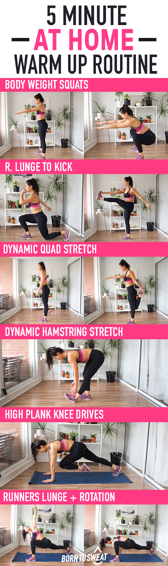 5 minute at home warm up routine! No equipment needed for this awesome dynamic warm up. Get your entire body moving and the blood flowing to ensure you don't injure or pull anything before your workout